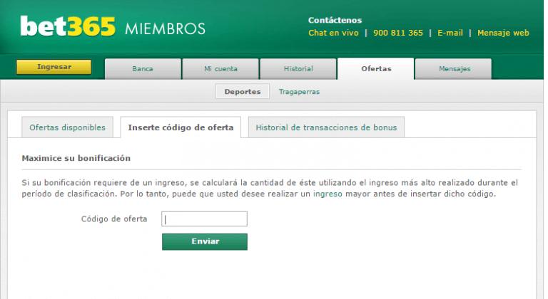 CODIGO DE BONUS EN BET 365