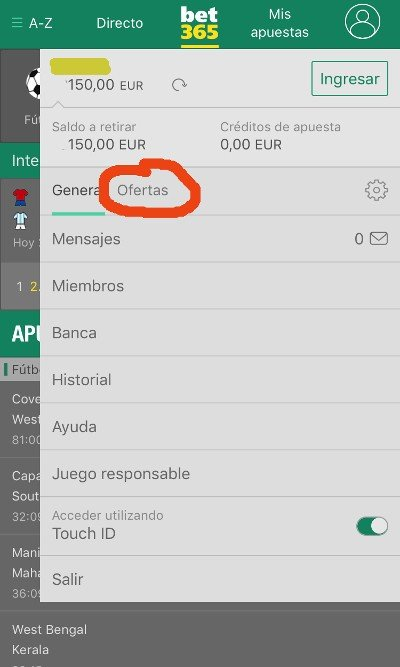 seccion ofertas bono bet365