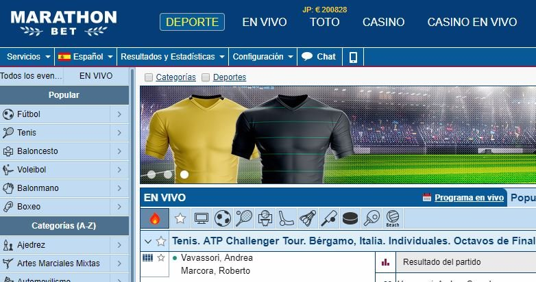 El anticuado website de marathonbet