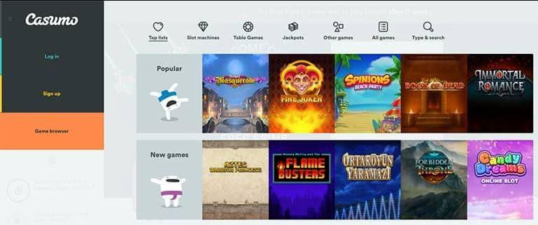 website casumo juegos